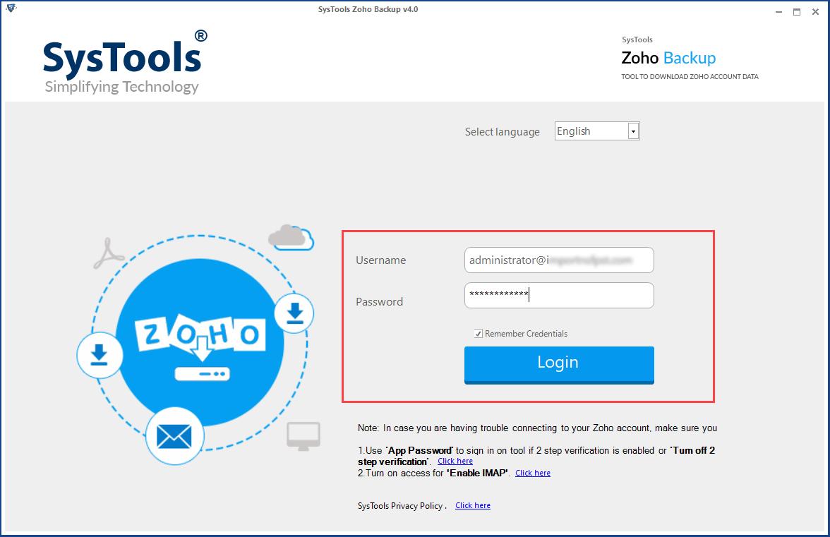 start zoho email backup tool